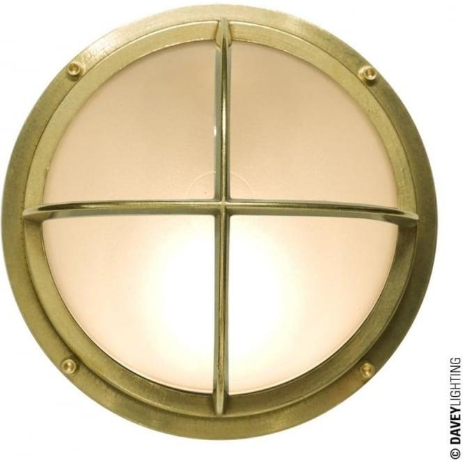 Davey Lighting 7226 Brass Bulkhead with Cross Guard, Polished Brass, G24