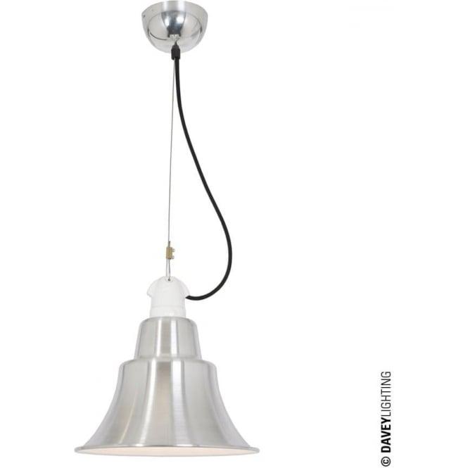Davey Lighting 7245 Zoe Pendant, Polished Aluminium, White Interior