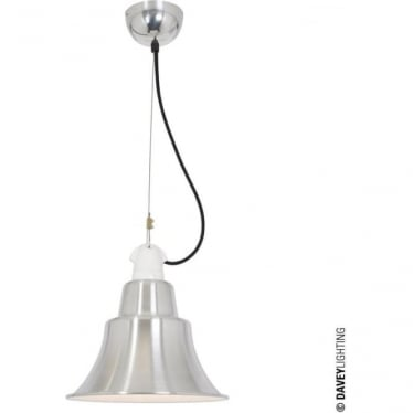 7245 Zoe Pendant, Polished Aluminium, White Interior