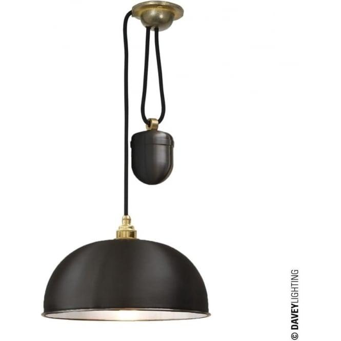 Davey Lighting 7300 Davey Lighting Dome Rise & Fall Pendant - Black, White Interior