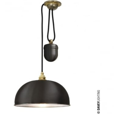 7300 Davey Lighting Dome Rise & Fall Pendant - Black, White Interior