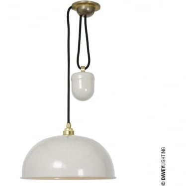 7300 Davey Lighting Dome Rise & Fall Pendant - Putty Grey, White Interior