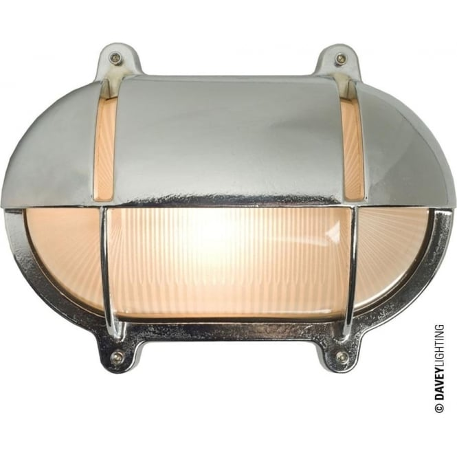 Davey Lighting 7434 Oval Brass Bulkhead with Eyelid Shield, Large, Chrome Plated