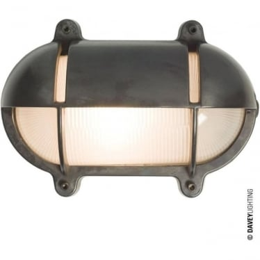 7434 Oval Brass Bulkhead with Eyelid Shield, Large, Weathered Brass