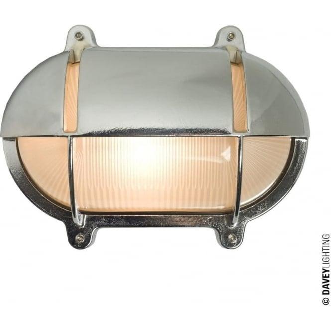 Davey Lighting 7435 Oval Brass Bulkhead with Eyelid Shield, Medium, Chrome Plated