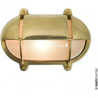 7435 Oval Brass Bulkhead with Eyelid Shield, Medium, Natural Brass