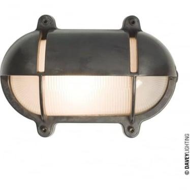 7435 Oval Brass Bulkhead with Eyelid Shield, Medium, Weathered Brass