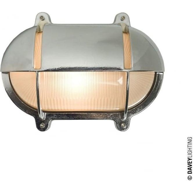 Davey Lighting 7436 Oval Brass Bulkhead with Eyelid Shield, Small, Chrome Plated
