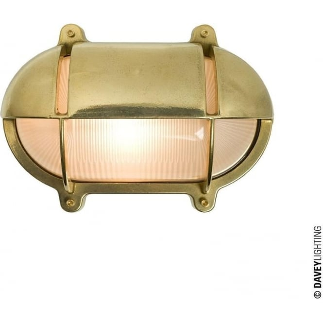 Davey Lighting 7436 Oval Brass Bulkhead with Eyelid Shield, Small, Natural Brass