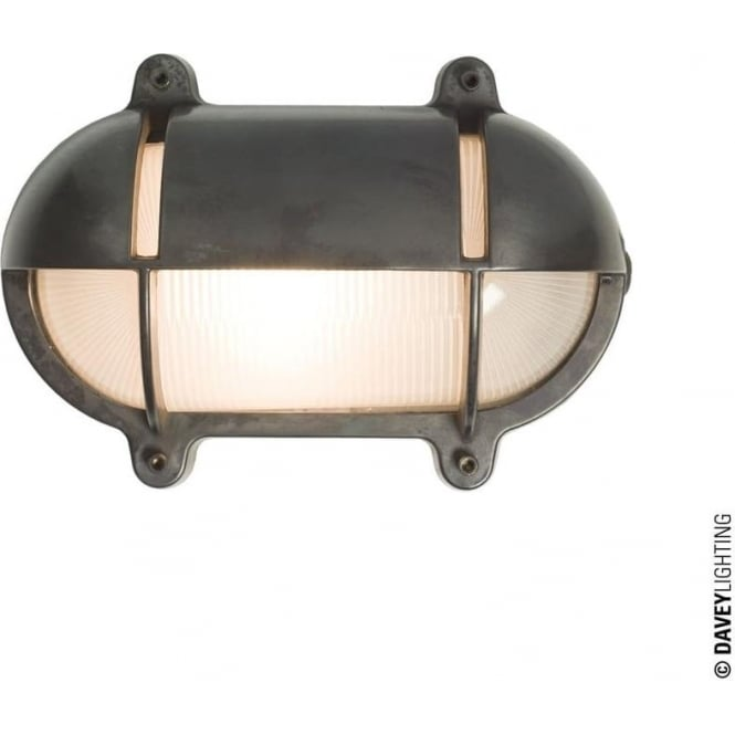 Davey Lighting 7436 Oval Brass Bulkhead with Eyelid Shield, Small, Weathered Brass