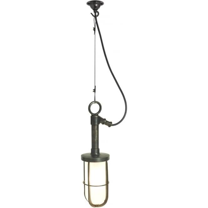 Davey Lighting 7524 Marine Well Glass Pendant, Weathered Brass, Clear
