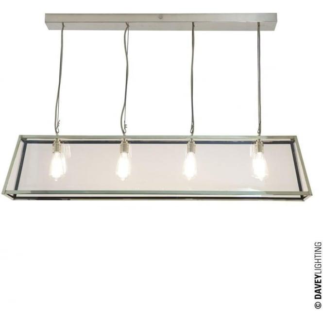Davey Lighting 7632 Diner, Internally Glazed 125, Satin Nickel, Clear glass