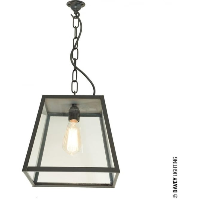 Davey Lighting 7635 Quad Medium, Closed Top, Weathered Brass, Clear
