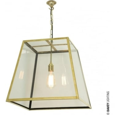 7636 Quad Pendant, Large, Polished Brass, Clear