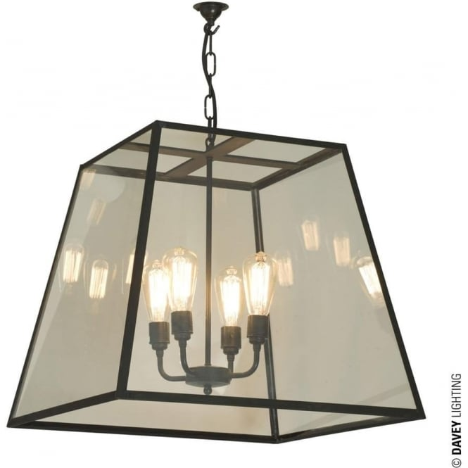 Davey Lighting 7636 Quad Pendant, XL, Weathered Brass, Clear