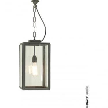 7638 Exterior Square Pendant, Small, Weathered Brass, Clear