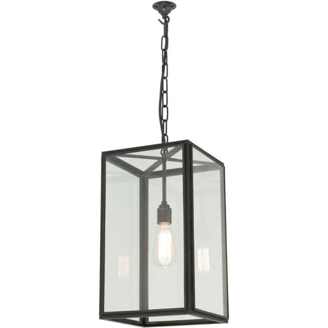 Davey Lighting 7639 Square Pendant, Medium, Weathered Brass, Clear