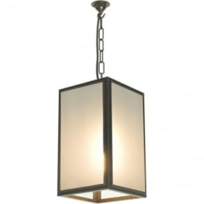 7639 Square Pendant, Medium, Weathered Brass, Frosted