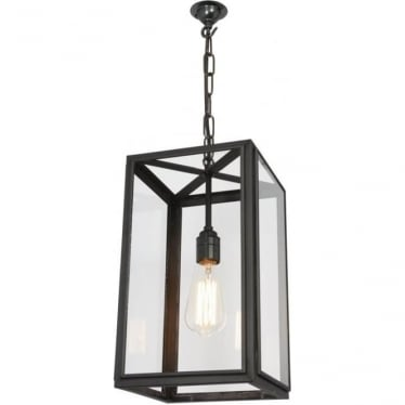 7639 Square Pendant, Small, Weathered Brass, Clear
