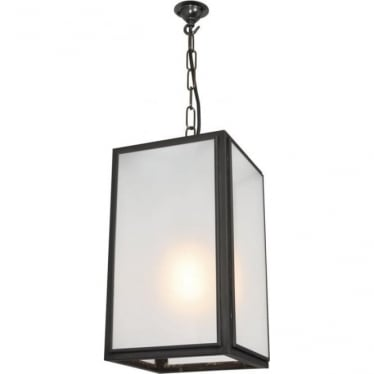 7639 Square Pendant, Small, Weathered Brass, Frosted