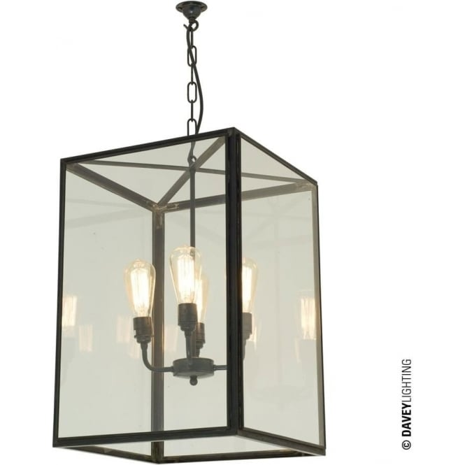 Davey Lighting 7639 Square Pendant, XL, Weathered Brass, Clear