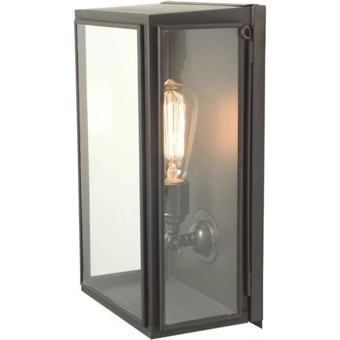 Davey Lighting 7642 Medium Wall Box, Weathered Brass, Clear