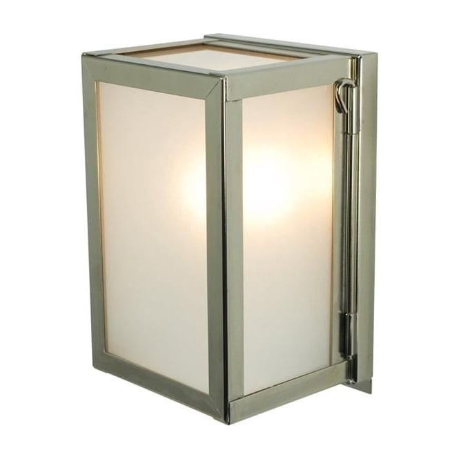 Davey Lighting 7643 Box Wall Light, Miniature, Internally Glazed, Polished Nickel, Frosted