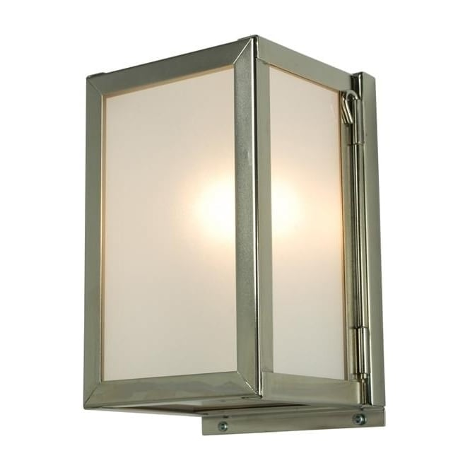 Davey Lighting 7643 Box Wall Light, Miniature, Internally Glazed, Satin Nickel, Frosted