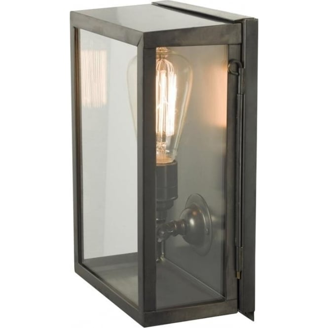 Davey Lighting 7644 Box Wall Light, Small, Internally Glazed, Weathered Brass, Clear