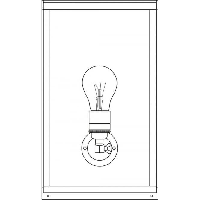 Davey Lighting 7645 Box Wall Light, Medium, Internally Glazed, Polished Brass, Frosted