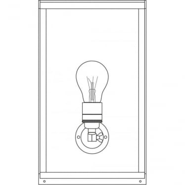 7645 Box Wall Light, Medium, Internally Glazed, Polished Nickel, Frosted