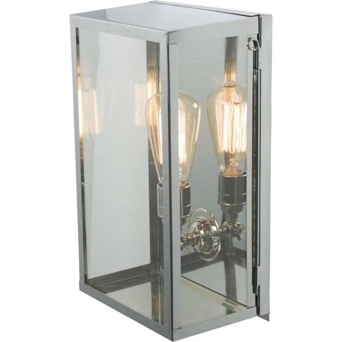 Davey Lighting 7645 Box Wall Light, Medium, Internally Glazed, Satin Nickel, Clear