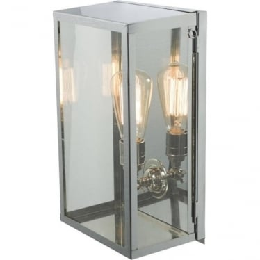 7645 Box Wall Light, Medium, Internally Glazed, Satin Nickel, Clear