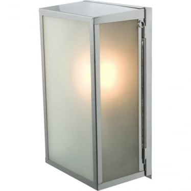 7645 Box Wall Light, Medium, Internally Glazed, Satin Nickel, Frosted