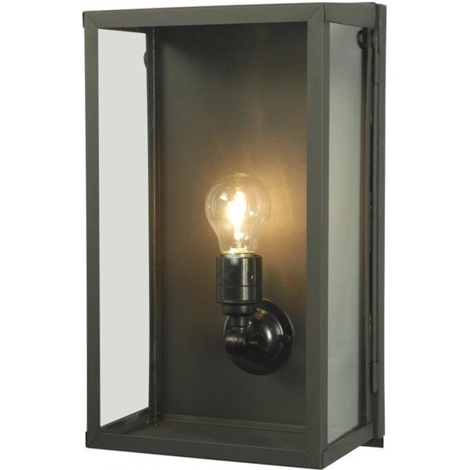 Davey Lighting 7645 Box Wall Light, Medium, Internally Glazed, Weathered Brass, Clear
