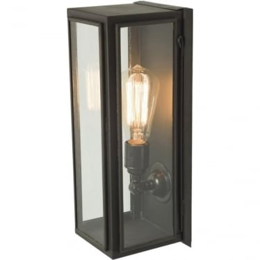 7649 Box Wall Light, Narrow, Glazed, Weathered Brass, Clear