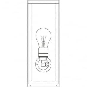 7649 Box Wall Light, Narrow, Glazed, Weathered Brass, Frosted