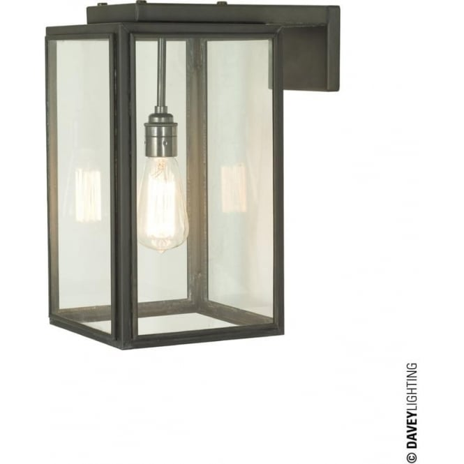 Davey Lighting 7656 Portico Wall Light, Small, Weathered Brass, Clear