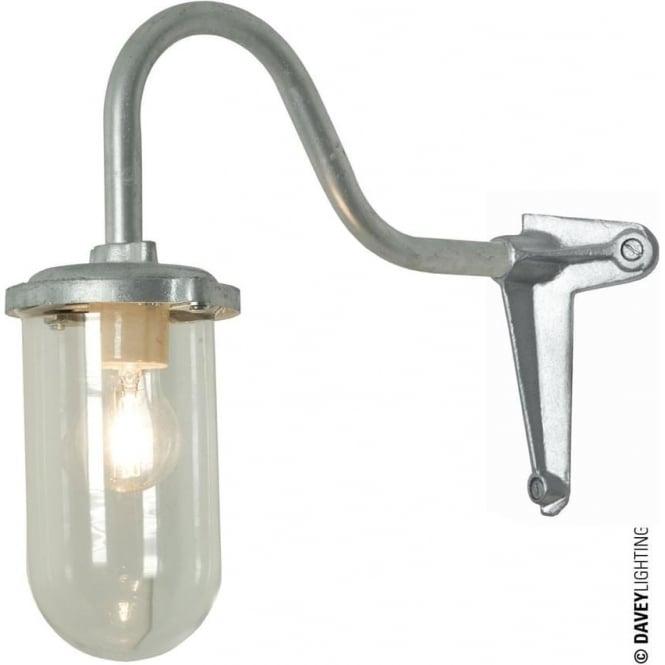 Davey Lighting 7672 Bracket Light, 100W, Corner Fork, Swan Neck, Galvanised, Clear