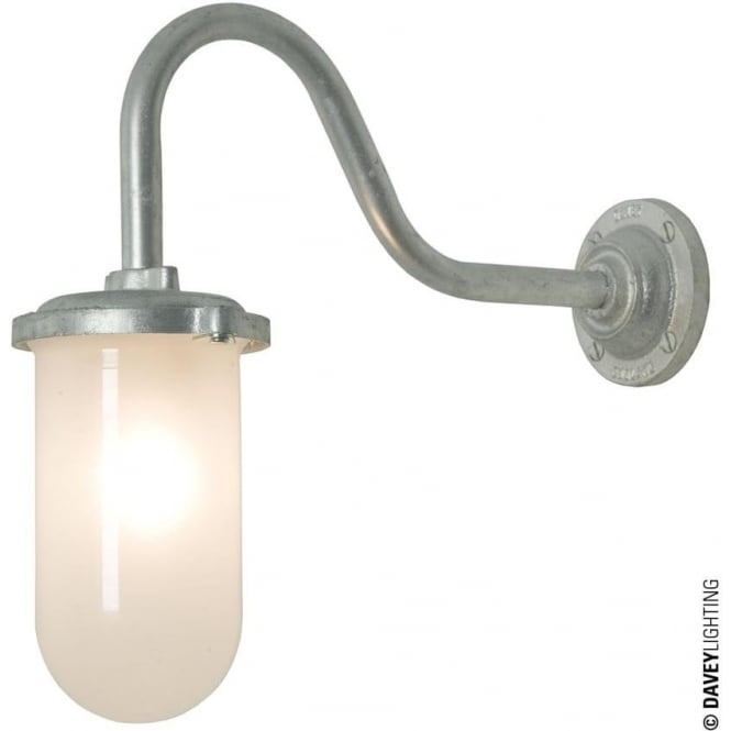 Davey Lighting 7672 Bracket Light, 100W, Round, Swan Neck, Galvanised, Frosted