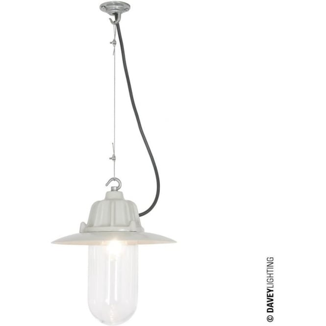 Davey Lighting 7675 Dockside Pendant, With reflector, Putty Grey, Clear