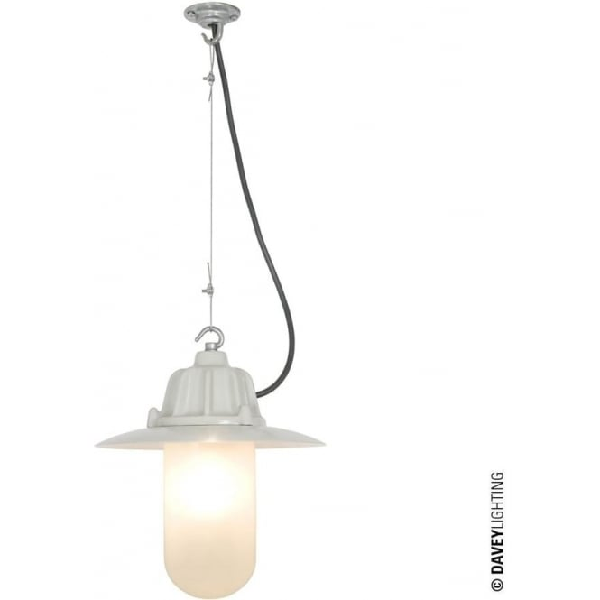 Davey Lighting 7675 Dockside Pendant, With reflector, Putty Grey, Frosted