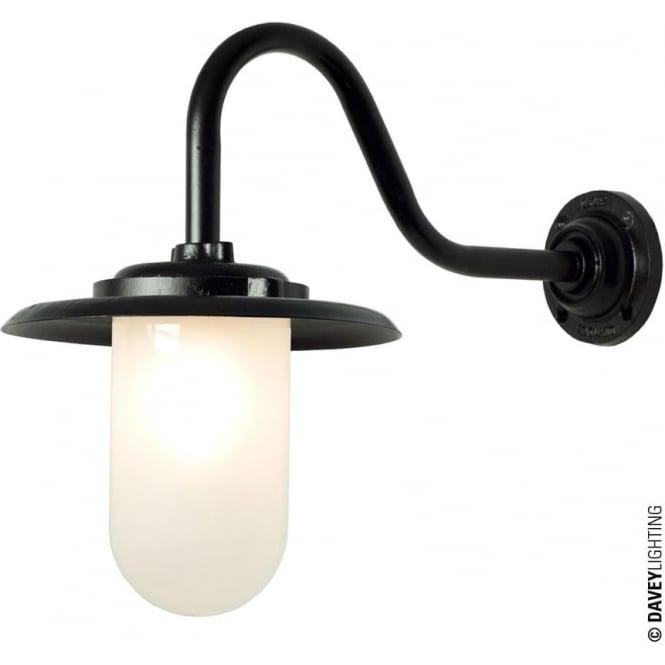 Davey Lighting 7677 Exterior bracket light, 100W, Swan Neck, Black - Frosted