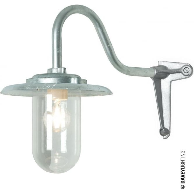 Davey Lighting 7677 Exterior bracket light, 100W, Swan Neck, Corner, Galvanised - Clear