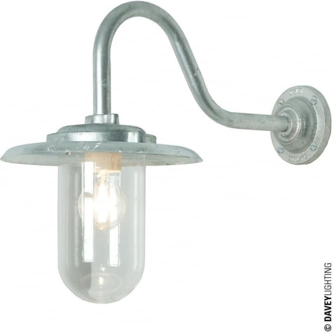 Davey Lighting 7677 Exterior bracket light, 100W, Swan Neck, Galvanised - Clear