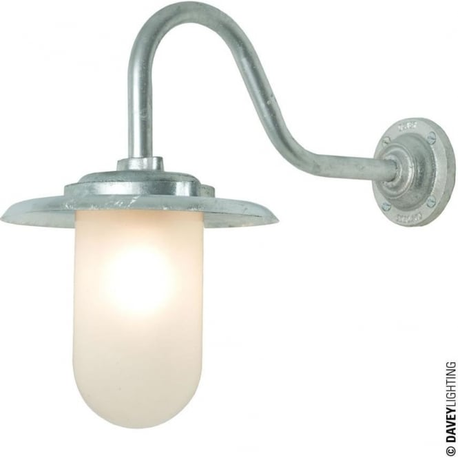 Davey Lighting 7677 Exterior bracket light, 100W, Swan Neck, Galvanised - Frosted