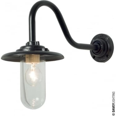 7677 Exterior Bracket Light, 60W, Swan Neck, Black - Clear