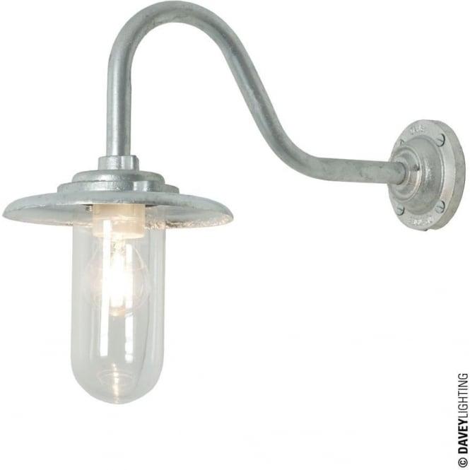 Davey Lighting 7677 Exterior Bracket Light, 60W, Swan Neck, Galvanised- Clear