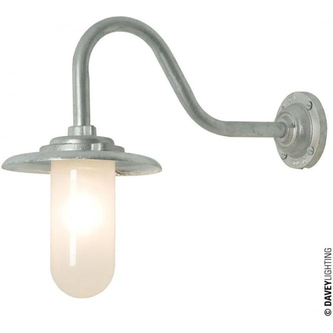 Davey Lighting 7677 Exterior Bracket Light, 60W, Swan Neck, Galvanised- Frosted