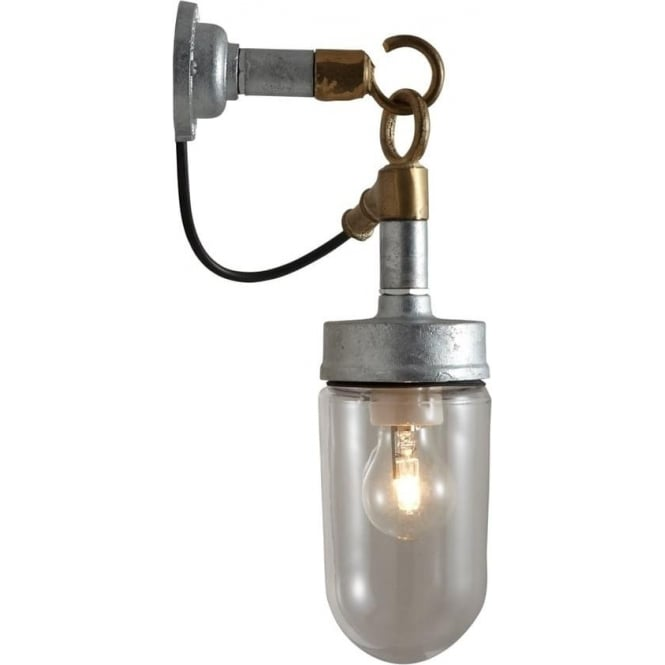 Davey Lighting 7679 Well Glass Wall Light, Galvanised, Clear Glass